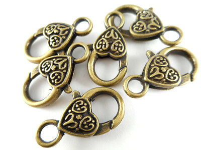 6 Antique Brass Plated Heart Lobster Claw Clasps Findings 31200