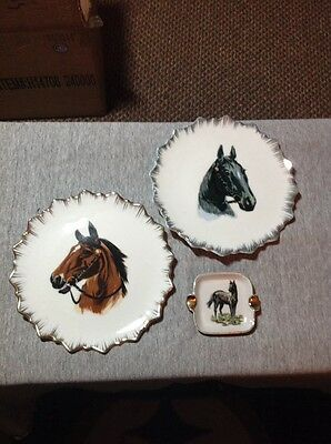 Porcelain Horse Plaques/Plates(2) And Ashtray(Made In Japan)