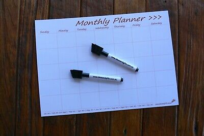 A4 'DAYS' Monthly Calendar Flexible Fridge Magnetic Whiteboard Planner 2FreePens