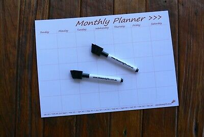 A4 DAYS Monthly Weekly Calendar Flexible Fridge Magnetic Whiteboard Planner +2p