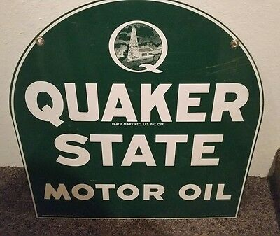 Quaker State Motor Oil Tombstone Metal Sign double 2 sided Gas Advertising MCA