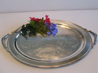 """Victorian Large 24""""x14 Oneida Royal Silver Plate Serving Butler Tray. Farm Find."""