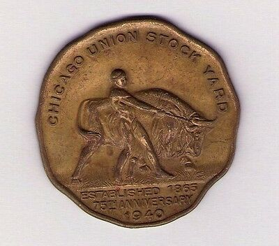 1865-1940 CHICAGO UNION STOCK YARD 75th ANNIVERSARY COMMEMORATIVE COIN MEDAL