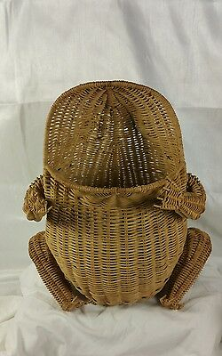 Vintage 17 inch  Wicker Rattan Frog Basket Waste Sewing Basket Storage