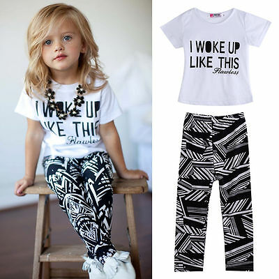 2pcs Kids  Baby Girls Boys Casual Tops T-Shirt+Zebra Pants Outfits Set US stock