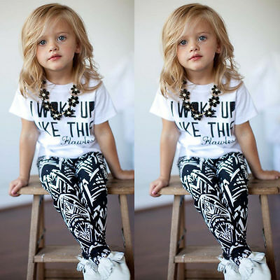 UK Stock Kid Girls Boys White Summer T-shirt Tops Zebra Legging Outfits Set