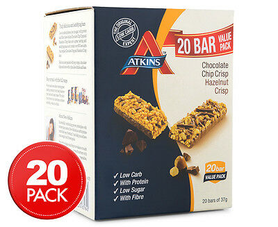 20 x Atkins Crisp Bars Chocolate Chip & Hazelnut 37g