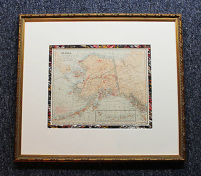 1914 Antique Alaska Gold & Silver Mines Color Vinatge Map Archival Framing Mint
