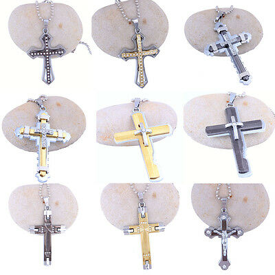 Hot Fashion Men's Stainless Steel Cross Charm Pendant Necklace Jewelry Chain