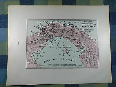 "PANAMA MARITIME CANAL Map 1902 Antique Original FINE 14.5""x11"" Old MAPZ176"