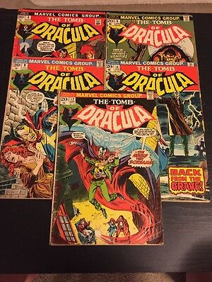The Tomb Of Dracula #5,6,9,12,16! Very Rare Silver Age Dracula Lot! Keys!