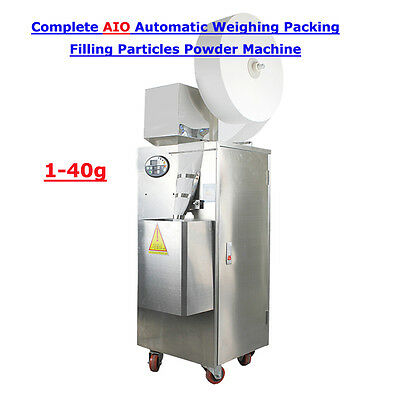 Complete AIO Automatic Weighing And Packing Filling Particles Powder Machine 40g