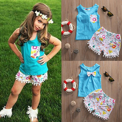 US Stock Floral 2PCS Toddler Kids Baby Girls Tops T-shirt Pants Outfits Clothes