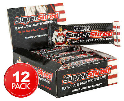 12 x Max's Super Shred Low Carb High Protein Bar 60g - White Choc Raspberry