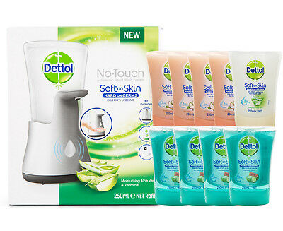Dettol No-Touch Dispenser + 9 x Refills 250mL