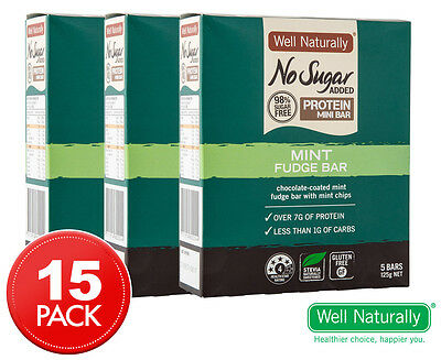 3 x Well Naturally No Sugar Added Protein Mini Mint Fudge Bars 5pk 25g