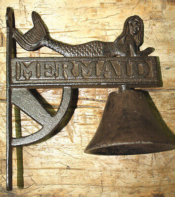 Cast Iron Antique Style Garden MERMAID School BELL Bracket Nautical Beach Pool