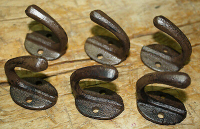 6 Cast Iron Tack Saddle Hook Style Coat Hooks Hat Hook Rack Hall Tree BROWN