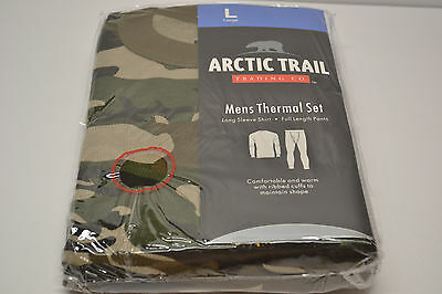 Mens Thermal Base Layer Two Piece Set Size L Large Camo Camouflage Shirt + Pants