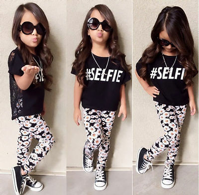 Toddler Kids Girls Lace Tops T-shirt Floral Pants Outfit Set Clothes UK Seller