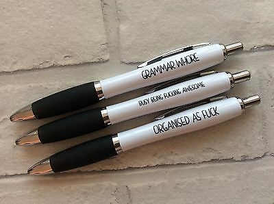 Funny Novelty Rude Sweary Offensive Profanity Pens - Pack of 3 (New Job Gift)