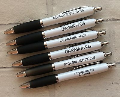 Funny Rude Sweary Offensive Profanity Pens - Pack of 6 (New Job/Leaving Gift)