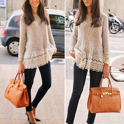 Casual Women Knitted Sweater Long Sleeve Pullover Loose Knitwear Jumper Tops
