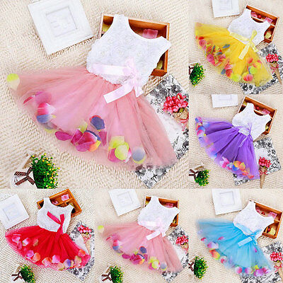 Toddler Baby Princess Party Tutu Lace Bow Skirt Kid Girls 3D Flower Dresses Tops
