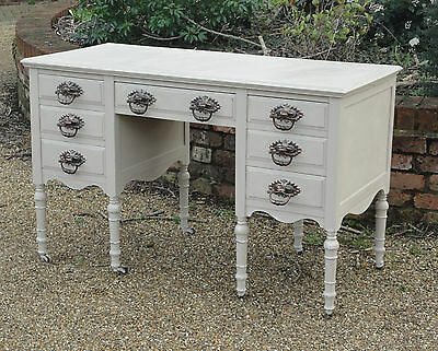 Lovely Antique Painted Shabby Chic Victorian French Writing Desk With 7 Drawers
