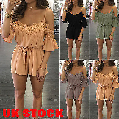 UK Womens Lace Cold Shoulder Holiday Mini Playsuit Jumpsuit Summer Beach Dress