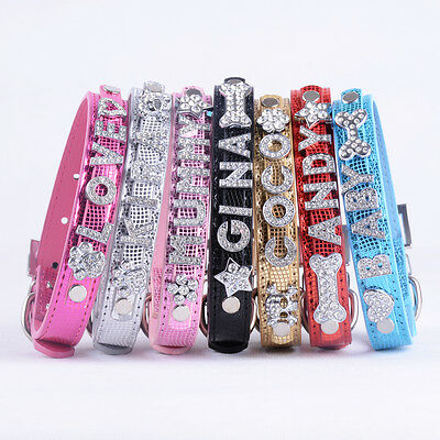 Personalized Small Cat Dog Collar Customized Rhinestone Name Pet Puppy Collars
