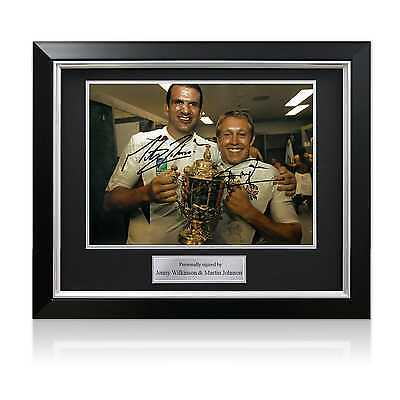 Jonny Wilkinson And Martin Johnson Signed 2003 Rugby World Cup Photo Framed