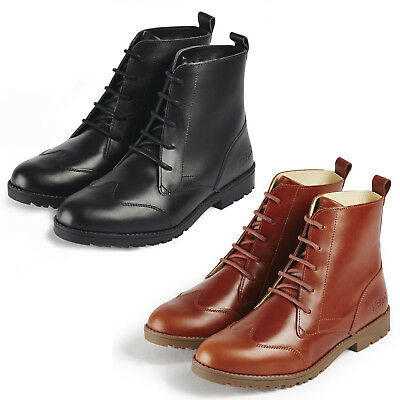 b9fc0c58 Kickers Lachly Hi Boots Leather Lace Up Brogue Womens Ankle Shoes UK3-9