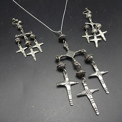 Vintage TAXCO Mexico Sterling Silver YALALAG Pendant Necklace & Earrings SET