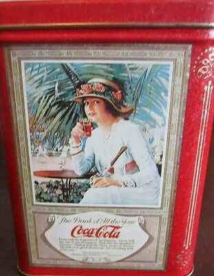 Vintage Coca-Cola Canister Victorian Beauties Tin Box Container Advertising