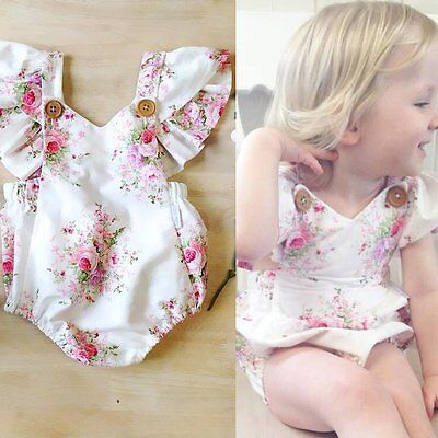 Newborn Baby Girls Lace Floral Bodysuit Romper Jumpsuit Clothes Outfits Sunsuit