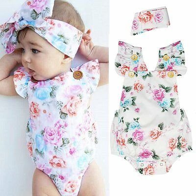 2PCS Newborn Infant Baby Girl Floral Bodysuit Romper Jumpsuit Sunsuit Outfits