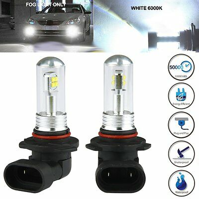 2x 9005 HB3 6000K White 80W LED Cree Projector Fog Driving DRL Light Lamp