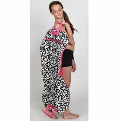Trendy Trends Dance Black & White Damask Garment Bag w/ Pink Trim & Zippers