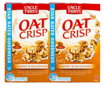 2 x Uncle Tobys Oat Crisp Cereal Honey & Macadamia 475g
