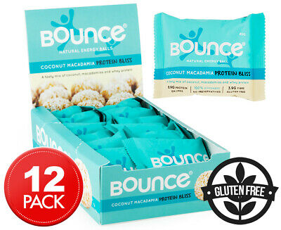 12 x Bounce Protein Bliss Energy Balls Coconut Macadamia 40g