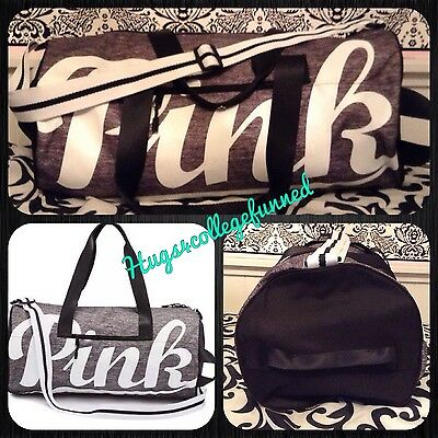 Victoria's Secret VS PINK MARL GREY GRAY Shoulder Gym Duffle Duffel Bag NEW ❤️