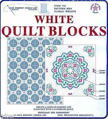 """Floral Stamped Cross Stitch Quilt Blocks Jack Dempsey Needle Art 18""""x18"""" STARTED"""