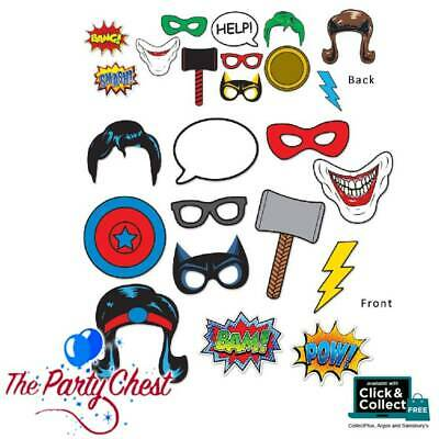 12PCS SUPERHERO FUN SIGNS PHOTO PROPS Selfie Hero Photo Booth Party Props 59888