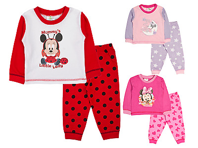 Baby Boys Girls Pyjamas Toddlers Disney Mickey Minnie Mouse Pjs Size 6-24 Months