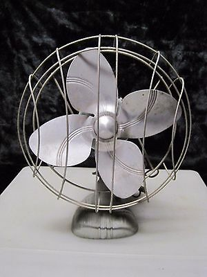 "Vintage DOMINION Table Fan 12"" Cast Iron Electric Cooling 2012-B Made USA WORKS"