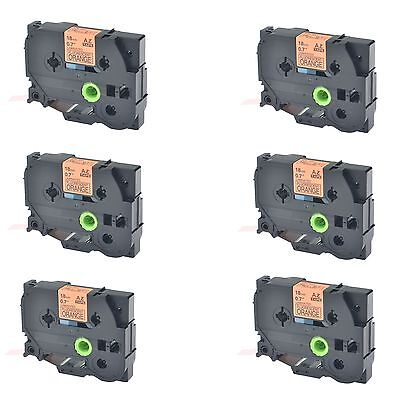 6PK TZeB41 TZB41 Black on Fluorescent Orange Label Tape For Brother P-Touch 3/4""