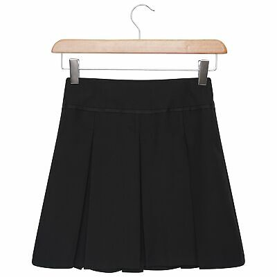 Girls Buckle Detail Pleated School Skirt School Uniform Navy Grey Black