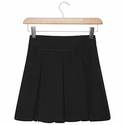 Girls School Skirt Grey, Navy & Black Buckle Front Pleated