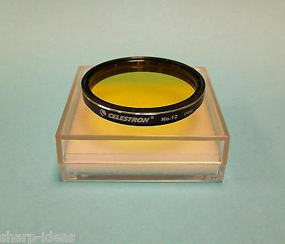 "Celestron #12 Yellow 2"" Telescope Eyepiece Filter - New In Case"